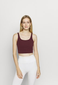 Nike Performance - YOGA LUXE CROP TANK - Toppi - night maroon/team red
