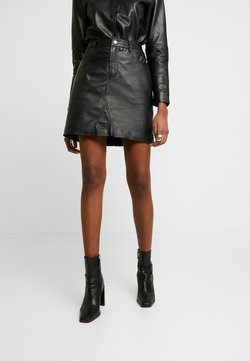 Object - OBJKASANDRA SKIRT - Leather skirt - black