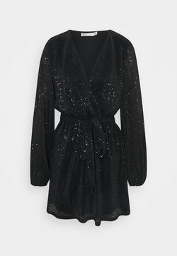 Nly by Nelly - WRAP SEQUIN DRESS - Cocktailkleid/festliches Kleid - black