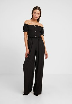 Missguided Petite - SHIRRED HORN BUTTON BARDOT - Combinaison - black
