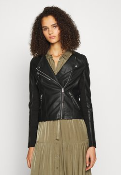Vero Moda Tall - VMRIAFAVO SHORT COATED JACKET - Keinonahkatakki - black
