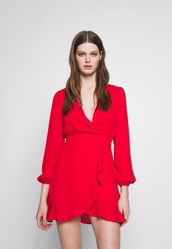 Honey Punch - V NECK WRAP DRESS - Cocktail dress / Party dress - red
