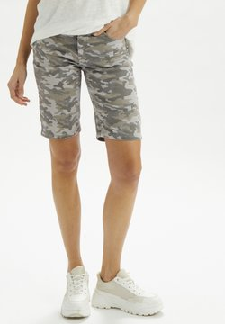 Cream - Jeans Shorts - grey camouflage