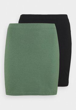 Even&Odd Petite - 2 PACK - Minifalda - khaki/black