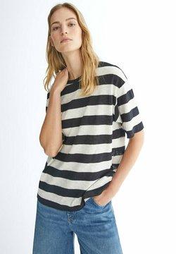 Massimo Dutti - GESTREIFTES SHIRT AUS REINER - T-Shirt print - black