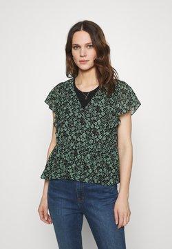 Madewell - GEORGETTE RUFFLE SLEEVE PEPLUM IN FLEUR FIELD - T-Shirt print - true black