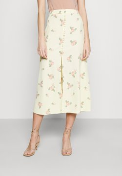 Glamorous - MIDI SKIRTS WITH FRONT SPLIT - A-Linien-Rock - yellow/pink