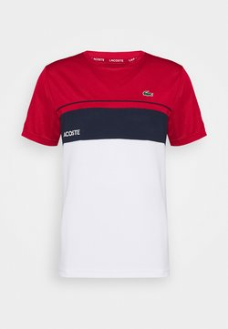 Lacoste Sport - TENNIS BLOCK - Camiseta estampada - ruby/white/navy blue