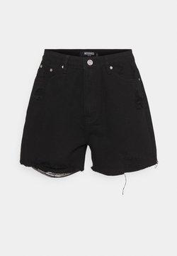 Missguided Petite - HEM DISTRESS - Jeansshorts - black