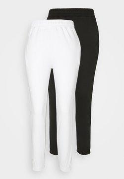 Missguided Petite - 2 PACK BASIC JOGGER - Jogginghose - white/black