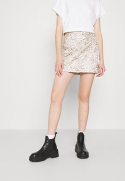 Free People - PRINTED FAKE OUT WRAP - Mini skirt - beige
