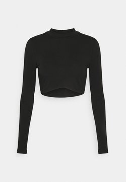 Nly by Nelly - LONG SLEEVE CROP - Pitkähihainen paita - black