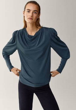 Massimo Dutti - MIT SCHULTERPOLSTERN - Long sleeved top - green