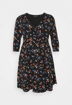 Dorothy Perkins Curve - CURVE WRAP SLEEVE COBALT SPOT DRESS - Jerseykleid - multi
