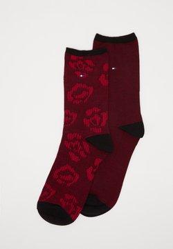 Tommy Hilfiger - SOCK FLOWER 2 PACK - Socken - black/rose violet