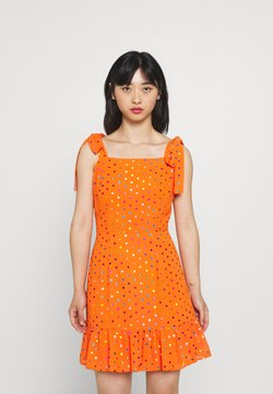 Never Fully Dressed - RAINBOW FOIL MINI DRESS - Freizeitkleid - orange
