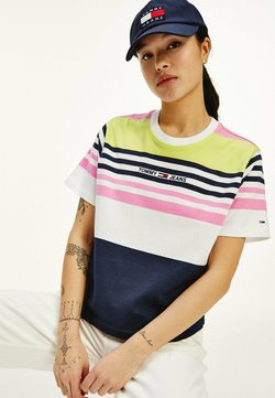 Tommy Jeans - LOGO EMBROIDERY CROPPED FIT STRIPE  - T-Shirt print - pink daisy stripe