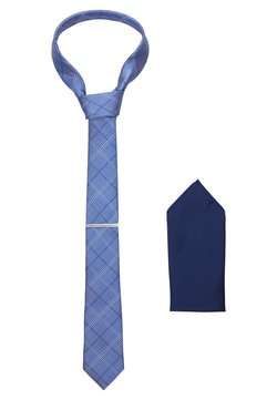 Burton Menswear London - CHECK TIE WITH PIN HANKIE SET - Einstecktuch - blue