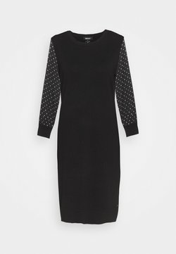 DKNY - FOIL CREW NECK DRESS - Jumper dress - black/silver