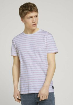 TOM TAILOR DENIM - MIT STREIFENMUSTER - T-Shirt print - white orange injected stripe