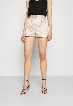Missguided - FLORAL BELTED MINI - Shorts - cream