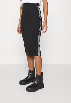 Tommy Jeans - BODYCON TAPE DETAIL SKIRT - Jupe crayon - black
