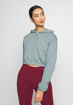 Nly by Nelly - CROPPED ZIP HOODIE - Collegetakki - gray