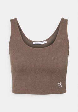 Calvin Klein Jeans - SLUB CROPPED STRAPPY - Top - dusty brown