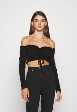 Nly by Nelly - CROPPED DRAWSTRING - Maglietta a manica lunga - black
