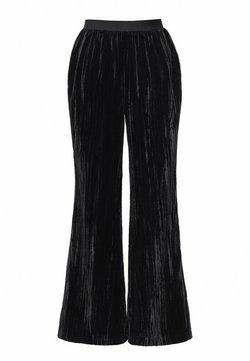Hexeline - SPODNIE WELUROWE - Spodnie materiałowe - czerń