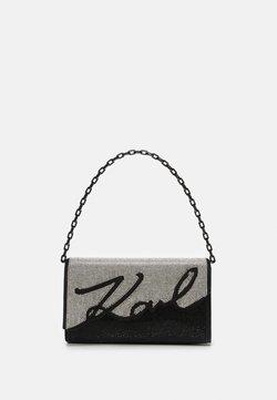 KARL LAGERFELD - SIGANTURE BAGUETTE SPARKLE - Handtasche - black/silver