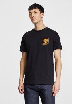 Timberland - T-shirt z nadrukiem - black/dark cheddar