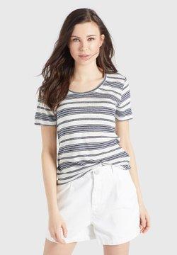 khujo - PERGOLA - T-Shirt basic - naturweiß-dunkelblau gestreift