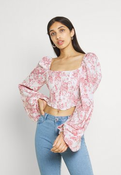 Missguided - EXTREME SLEEVE BUTTON CORSET - Bluse - red