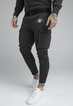 SIKSILK - DUAL STRIPE CARGO PANT - Cargohose - black/white
