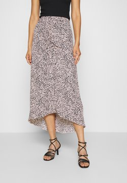 Dorothy Perkins - LEOPARD RUCHED MIDI SKIRT - A-Linien-Rock - black