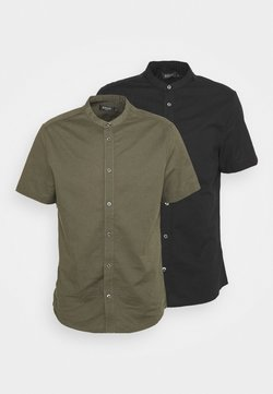 Burton Menswear London - SHORT SLEEVE OXFORD GRANDAD 2 PACK - Koszula - black
