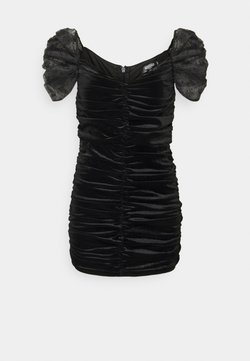Missguided Petite - RUCHED DETAIL DOBBY SLEEVE DRESS - Cocktail dress / Party dress - black