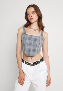 Missguided - CHECK CORSET - Top - grey