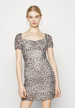 Topshop - NEW MONO LEOPARD MINI DRESS - Vestido de tubo - mono