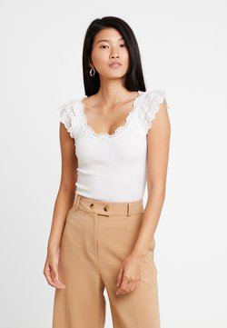 Rosemunde - SILK-MIX TOP REGULAR W/WIDE LACE - Toppe - new white