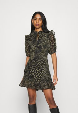Topshop - IDOL V NECK RUFFLE TEADRESS CROC - Freizeitkleid - green