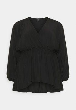 Simply Be - BATWING SLEEVE WRAP BLOUSE - Bluse - black