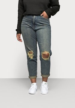 Missguided Plus - DISTRESSED TURN UP - Relaxed fit -farkut - blue