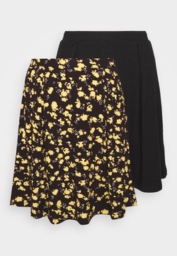 Even&Odd - 2 PACK - Jupe trapèze - black/yellow