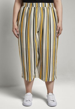 MY TRUE ME TOM TAILOR - CULOTTE CRINKLE LOOK - Stoffhose - black yellow stripe