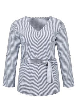 MY TRUE ME TOM TAILOR - BELTED STRIPE BLOUSE - Bluse - navy white stripe