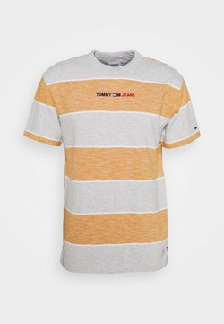 Tommy Jeans - STRIPE LINEAR LOGO TEE - T-Shirt print - orange