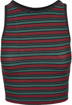 Urban Classics - LADIES RIB STRIPE CROPPED - Top - green/black/firered