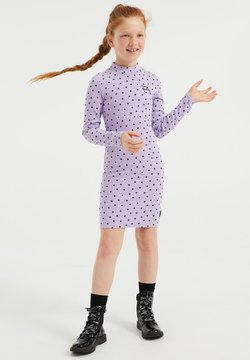 WE Fashion - MET STIPPENDESSIN - Etuikleid - lilac